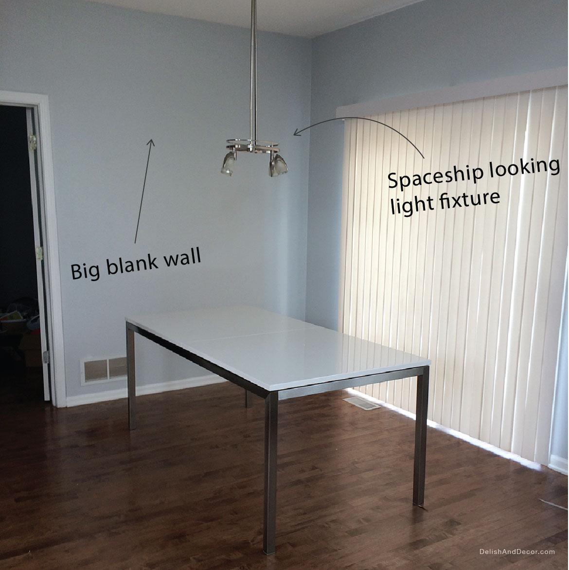 Before photo of a dining room