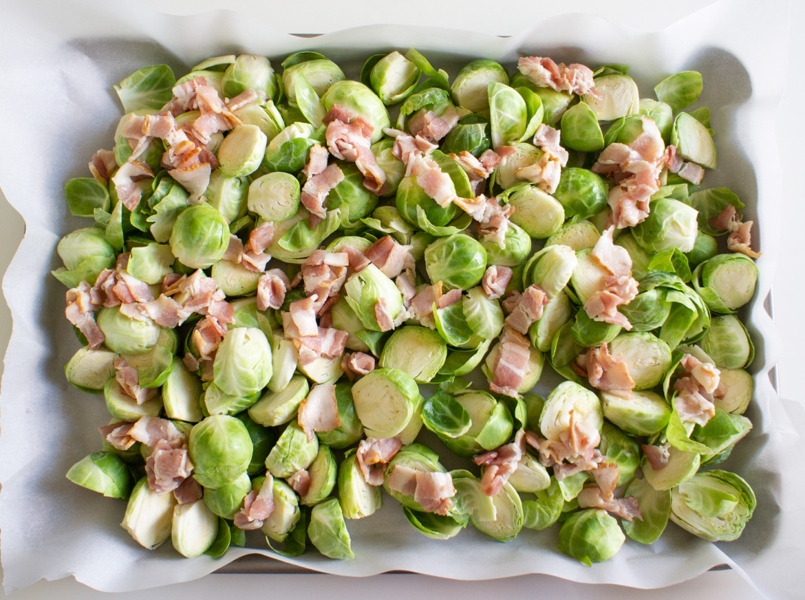 Added bacon with Brussels sprouts