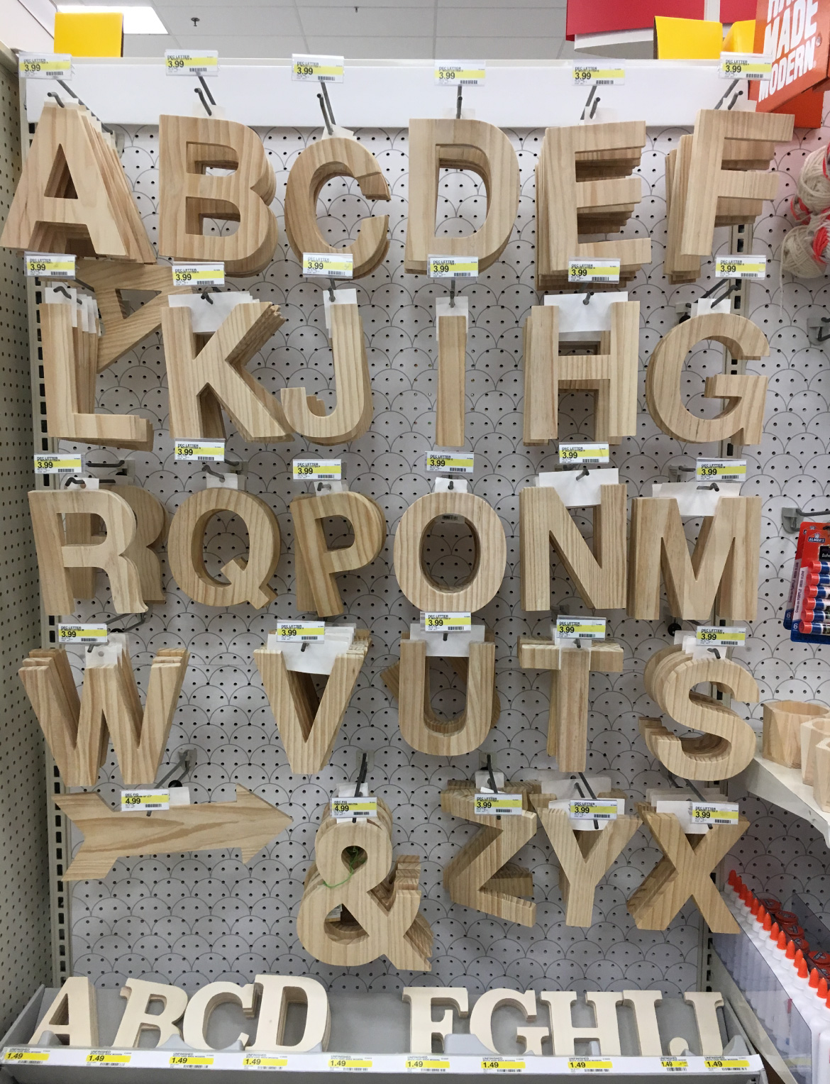 Wood lettering from Target