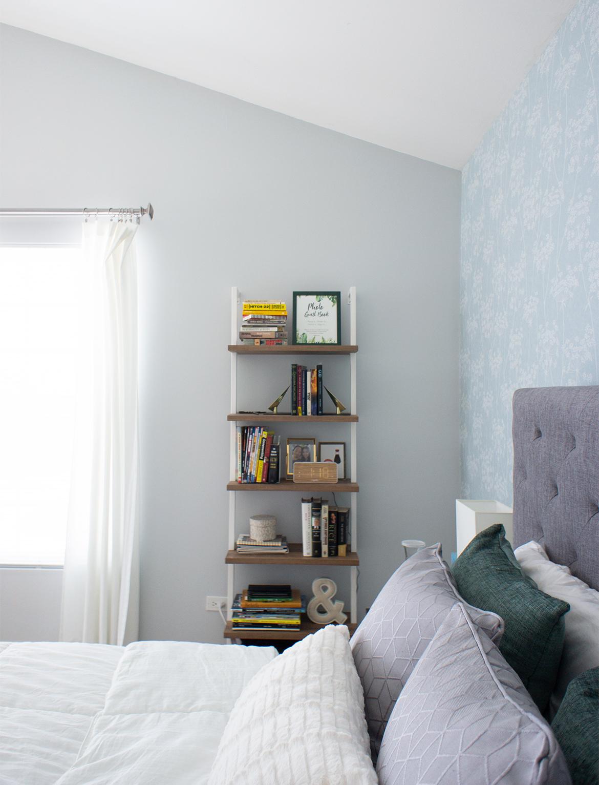 Bookshelf next to bed