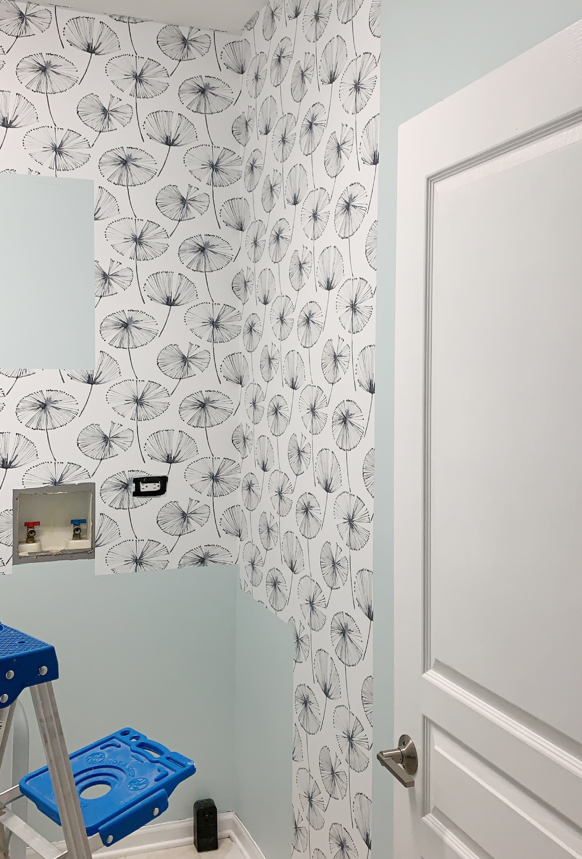 Laundry room makeover process - wallpaper